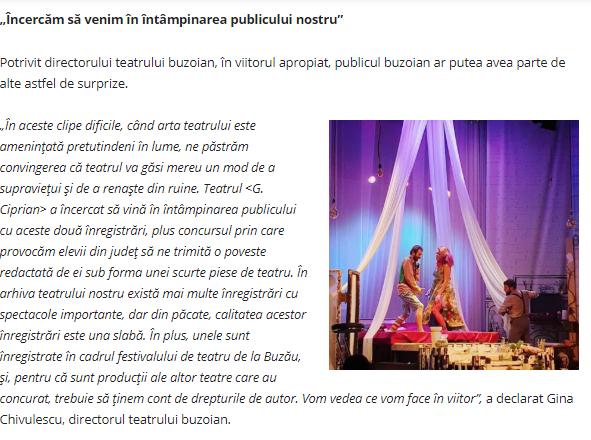 """Teatrul """"George Ciprian"""" transmite spectacole pe internet – articol Opinia"""