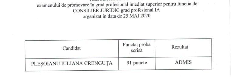 REZULTATUL FINAL al examenului de promovare în grad profesional imediat superior pentru funcția de CONSILIER JURIDIC grad profesional IA organizat în data de 25 MAI 2020
